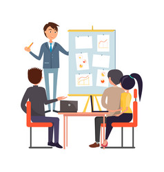 people meeting or briefing sitting and discussing vector image