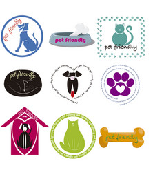 Pet friendly icon collection vector