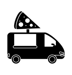 pizza delivery truck fast food pictogram vector image