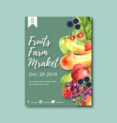 Poster design with fruits-theme creative various vector