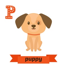 Puppy P letter Cute children animal alphabet in vector