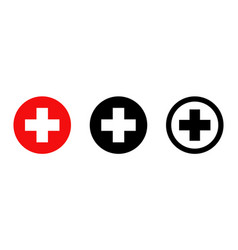 red cross isolated icons medicine health hospital vector image