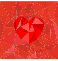 Red valentines heart on red wrapping surface vector