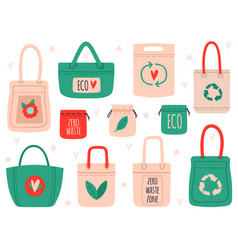 reusable bags fabric recycling symbol shopping vector image