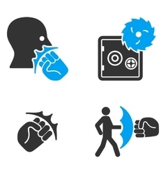 Robbery Fist Strike Flat Bicolor Icons vector