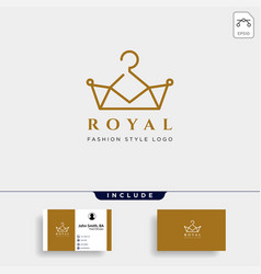 royal king fashion simple line logo template in vector image