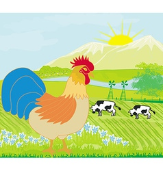 rural landscape with roster and cows vector image