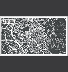 sabadell spain city map in retro style outline map vector image