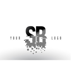 Sb s b pixel letter logo with digital shattered vector