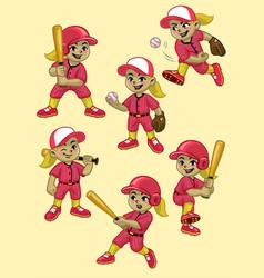 set cartoon girl baseball player vector image