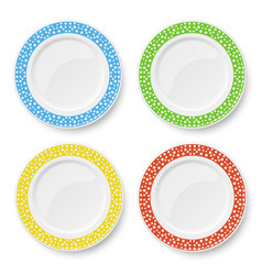 Set color plates with white polka dot pattern vector