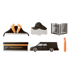 Set items used at funeral service and vector