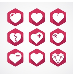 set love signs 9 hearts icons vector image