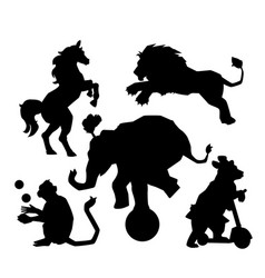 Set of circus silhouette animals performance vector