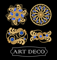 Set of gold filigree brooch with blue gems vector