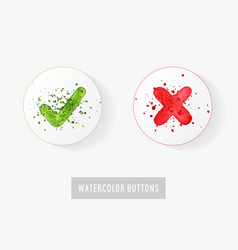 set of watercolor hand drawn check mark buttons vector image