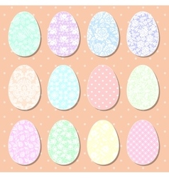 set pastel easter eggs vector image
