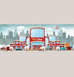 Shopping center in the city winter vector