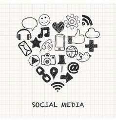 social media icons in heart shape vector image