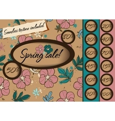 Spring sale poster with seamless texture vector