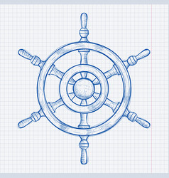 steering wheel blue hand drawn sketch on lined vector image