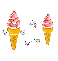 Strawberry ice cream cone cartoon character vector image