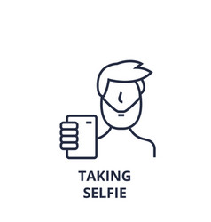 taking selfie line icon outline sign linear vector image