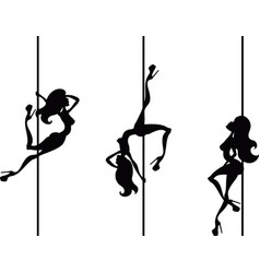 Three pole dancers vector