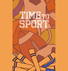 Time to sport concept card vector