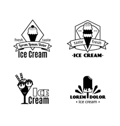 Vintage ice cream black logo templates vector
