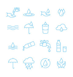 water and drop icon set in thin line style vector image