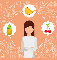 Woman portrait with organic fresh fruits image vector