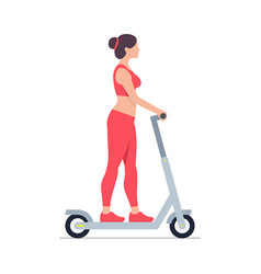 woman riding an electric scooter vector image