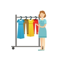 Woman Shopping For Clothing Shopping Mall And vector