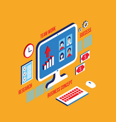 workplace isometric elements set social network vector image