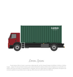 cargo truck carrying a freight container vector image