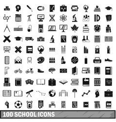 100 school icons set in simple style vector image vector image