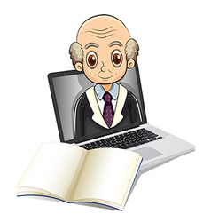 An electronic gadget with a bald old man vector image