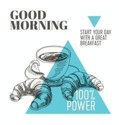 background Hand drawn breakfast vector image
