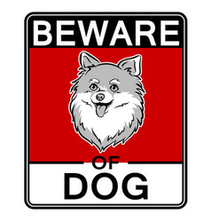 beware of cute dog pop art vector image