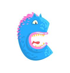 cartoon character monster letter c vector image