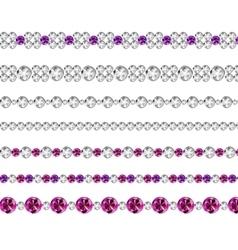 Diamond Realistic Borders Set vector image vector image