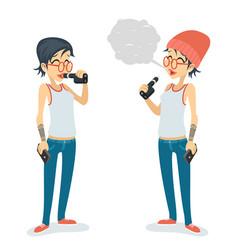 girl vape smoking female geek hipster casual vector image vector image