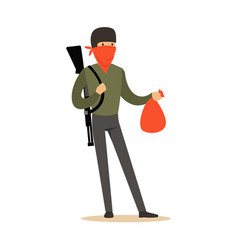 masked robber with rifle on his shoulder carrying vector image