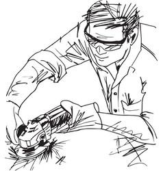 sketch of man with circular saw vector image vector image