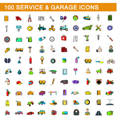 100 service and garage icons set cartoon style vector image