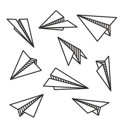 isolated various paper planes black outline flying vector image vector image