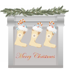 Merry Christmas fireplace vector image vector image