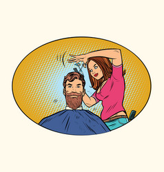woman hairdresser cuts the bearded hipster vector image vector image