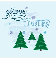Christmas tree with quote Merry christmas vector image